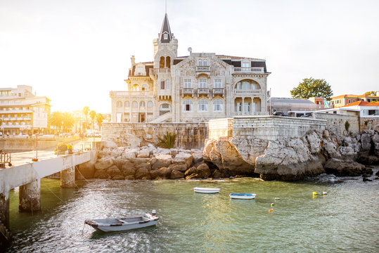 View on the bay with Palmela palace in Cascais resort in Porrtugal