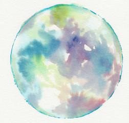 Sfera multicolore chiara in acquerello