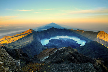 View from the top of Rinjani volcano - Lombok, Indonesia.
