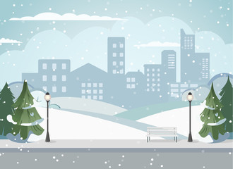 Cityscape of a big metropolis. Calm street. Flat picture of the city. Winter Park, green trees in the city. Urban background. Background with houses. Cozy property. Snowy Alley for walks in the park