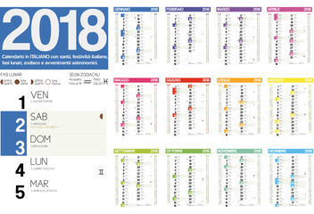2018 italian calendar with italian holidays, zodiac , saints and moon phases