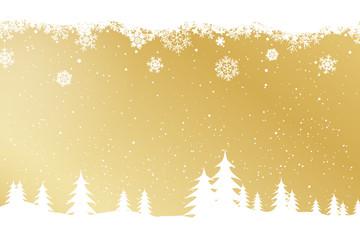 Winter decorative snowing landscape on golden background vector.