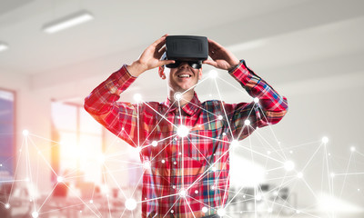 Guy wearing checked shirt and virtual mask demonstrating some emotions