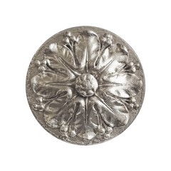 Silver decorative element in the form of a flower isolated on white background