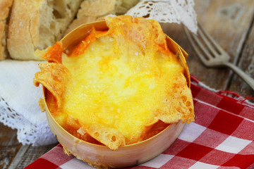 Baked French cheese, closeup