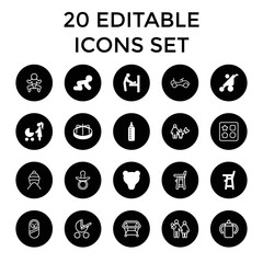 Set of 20 baby filled and outline icons