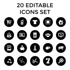 Set of 20 concept filled icons