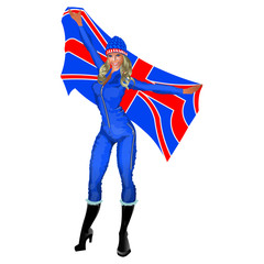 Winter games cheerleader fan with United Kingdom flag vector illustration isolated