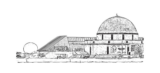 Hand drawn sketch of The Adler Planetarium is a public museum, Chicago, big city, architecture, engraving in vector illustration.