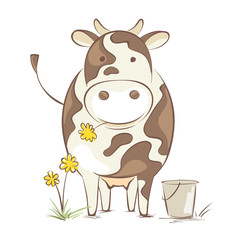 Cow with dandelion / Funny vector illustration, cheerful cow en face