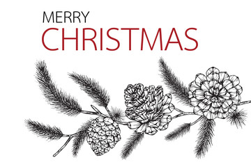 Flower frame drawing illustration for Merry Christmas'day. Christmas'day background.