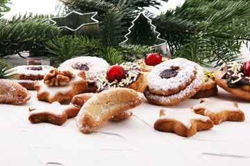 Mixed Christmas cookies. Colorful mix of Christmas-themed decorated xmas cookies.
