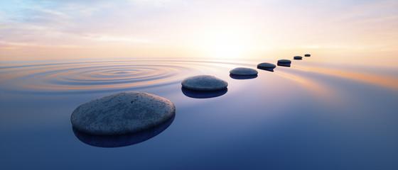 Fotorolgordijn Zen Steine im See bei Sonnenuntergang
