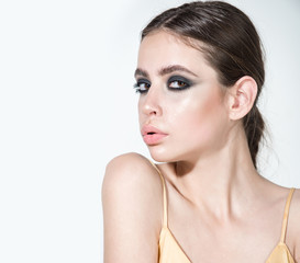 Girl or woman with makeup face, eyeshadow pose