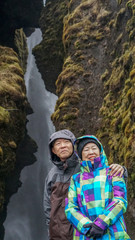 Rich Asian senior couple anniversary trip in Iceland