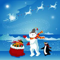 Christmas gift to arctic animals on North Pole