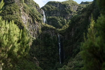 Waterfall in a djungle valley on Madeira, Portugal