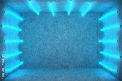 3d illustration abstract blue room interior with blue neon lamps