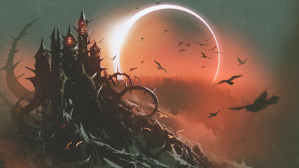 Garden Poster Deep brown scenery of castle of thorn with solar eclipse in dark red sky, digital art style, illustration painting