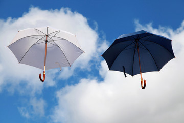 Floating Umbrellas in White and Dark Blue