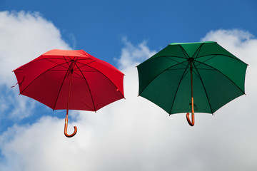 Floating Umbrellas in Red and Green