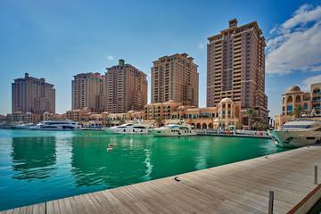 DOHA, QATAR -26 November 2014: Doha skyline in the summer days in Katara Cultural Village