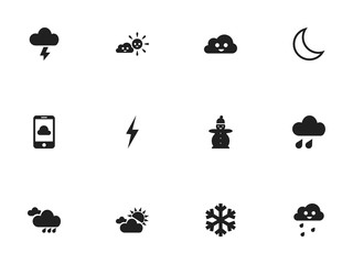 Set Of 12 Editable Air Icons. Includes Symbols Such As Snow Person, Deluge, Stormy And More. Can Be Used For Web, Mobile, UI And Infographic Design.