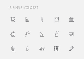 Set Of 15 Editable Education Outline Icons. Includes Symbols Such As Test, Building, Jumping And More. Can Be Used For Web, Mobile, UI And Infographic Design.