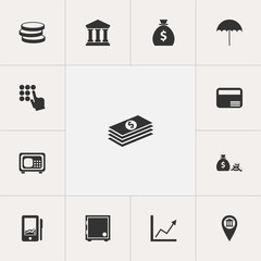 Set Of 13 Editable Investment Icons. Includes Symbols Such As Salary, Strongbox, Payment And More. Can Be Used For Web, Mobile, UI And Infographic Design.