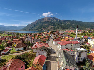 Aerial view of Plav lake and  Plav town, Montenegro