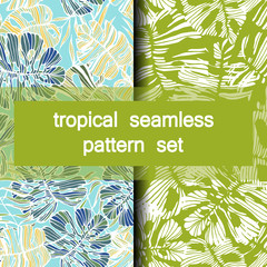 set of seamless tropical patterns of hand-drawn palm and monstera deliciosa leaves