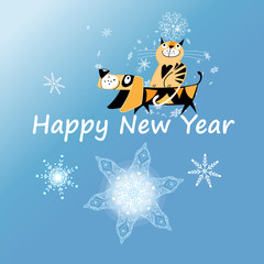 New Year greeting card with dog and cat