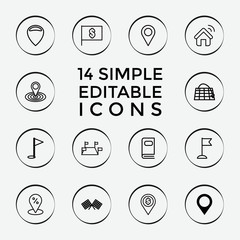 Set of 14 location outline icons