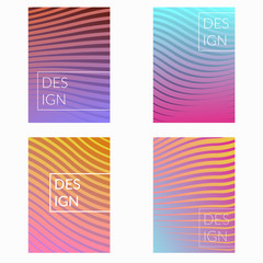 Minimalistic colorful halftone gradient line design folders collection