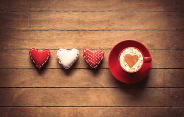 Heart shape toys and coffee cup