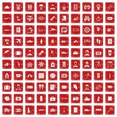 100 passport icons set grunge red