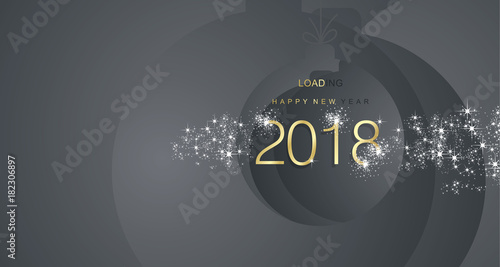happy new year 2018 firework gold black abstract ball landscape background