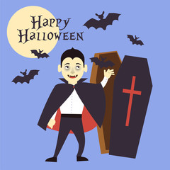 A boy dressed as a vampire reaches out to the tomb. Bats fly. Vector illustration.