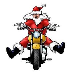 Wall Mural - santa claus biker