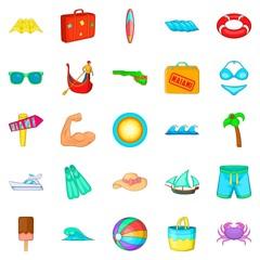 Beach icons set, cartoon style