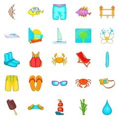 Plage icons set, cartoon style