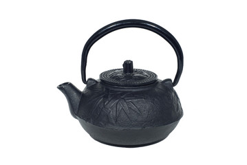 antique oriental black cast iron pottery kettle isolated