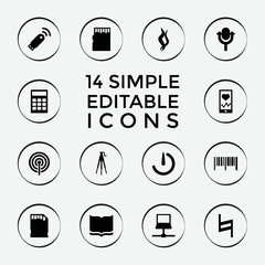 Set of 14 digital filled icons