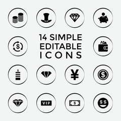 Set of 14 rich filled icons
