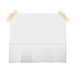 Realistic blank  paper ad with cut strips for the address and phone number