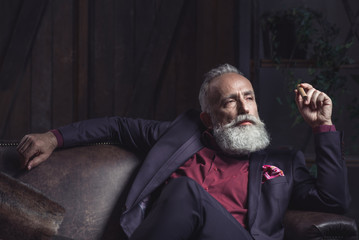 Portrait of serene unshaven mature male smoking cigar while resting on cozy sofa. Leisure concept
