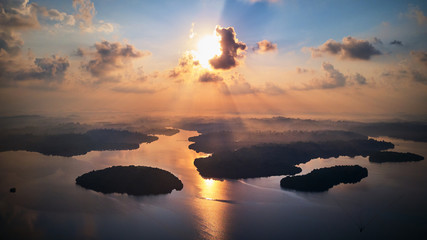 aerial shot of islands in tropical lake at sunrise sri lanka