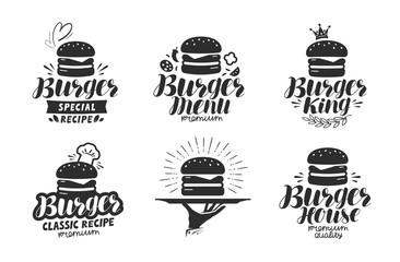 Burger, fast food logo or icon, emblem. Label for menu design restaurant or cafe. Lettering vector illustration