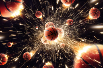 Basketball. Basketball balls with fire sparks in action. Black isolated