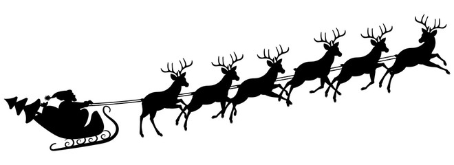 Santa Claus goes in a sleigh, dressed with reindeer. Christmas decor.Shapel, stencil.Vector illustration.